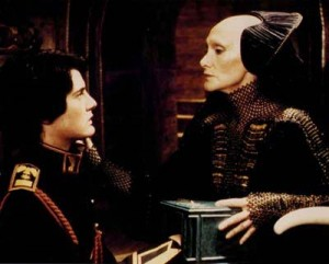 A Bene Gesserit Reverend Mother administers the Gom Jabbar test to he who might become the Kwisatz Haderach, in David Lynch's adaptation of <em>Dune</em>.