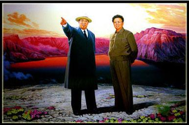 The Great Leader and the Dear Leader gaze together into the bright future of North Korea. The light behind them may and may not be from an exploding nuclear device.