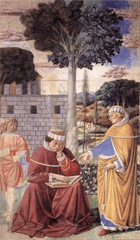 St. Augustine Reading the Epistle of St. Paul, by Benozzo Gozzoli, 1464-65